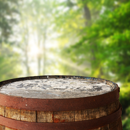 Barrel top as background for display montages Stock Photo