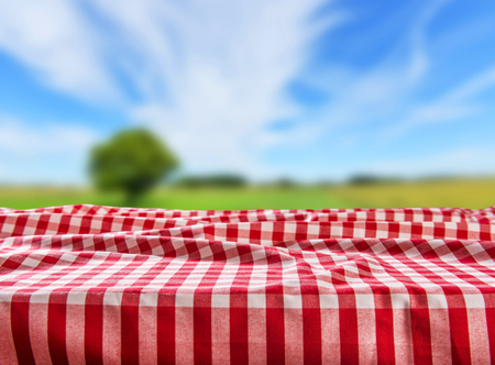 Empty checkered table background Stock Photo
