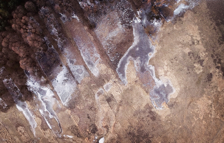 Winter landscape from drone - forest and frozen water on fields Banque d'images