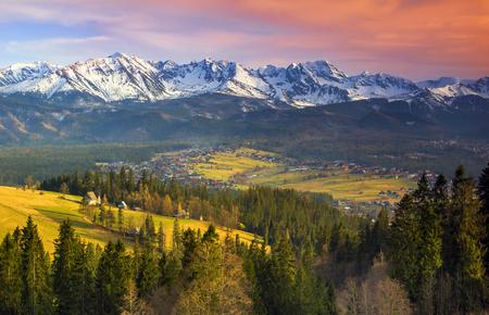 Polish mountains Tatry at sunset