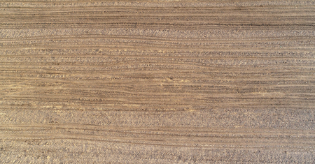 Plowed field seen from the drone Stock Photo
