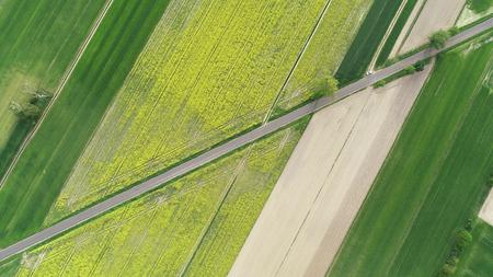 Aerial landscape- road between fields
