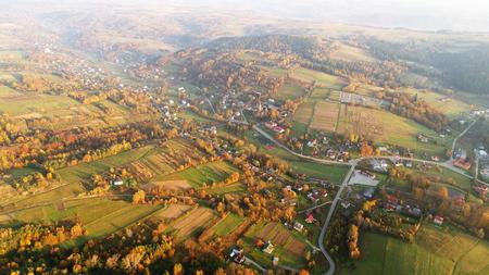 Aerial landscape - autumn fields at sunrise