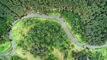 Aerial landscape from the drone - natural river