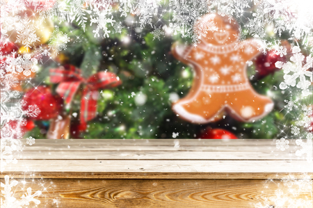 Christmas table background Standard-Bild - 114120881