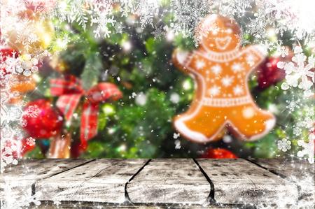 Christmas table background Standard-Bild - 114120894