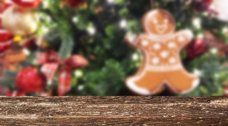 Christmas table background Standard-Bild - 114121079