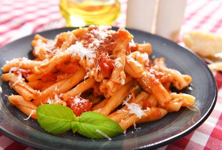 Italian style pasta with tomato sauce Stock fotó