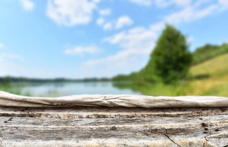 Empty wooden table background for display montages