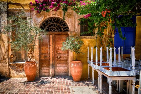 Traditional mediterranean backyard with old doors Stock Photo