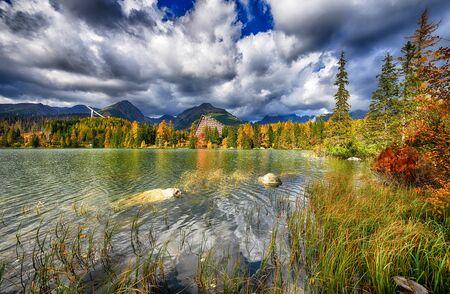 Autumn landscape of Strbskie Pleso in Slovakian Tatra mountains