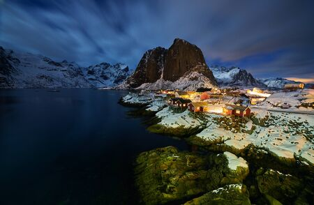 Hamnoy village in Norway lofotens at night during winter time
