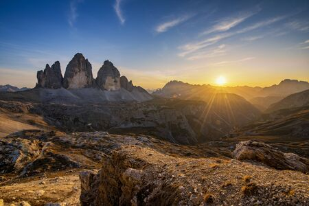 Beautiful landscape of mountains during sunset - Tre Cime di Lavaredo