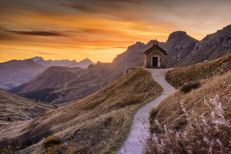 Sunrise in Italian dolomites during autumn