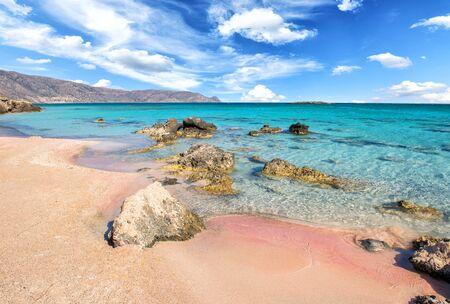 Famous Elafonisi beach on Greece island Crete Banco de Imagens