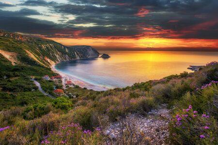 Beautiful summer sunset on Greece islands Stock Photo