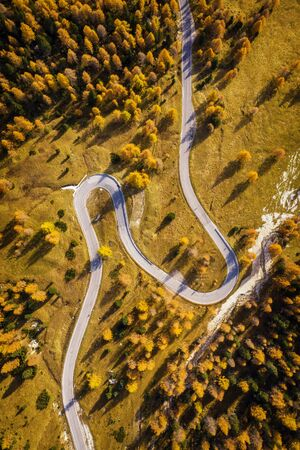 Drone aerial view - windy road in autumn