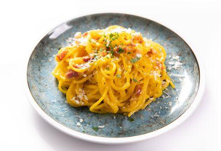 Delicious carbonara pasta close up
