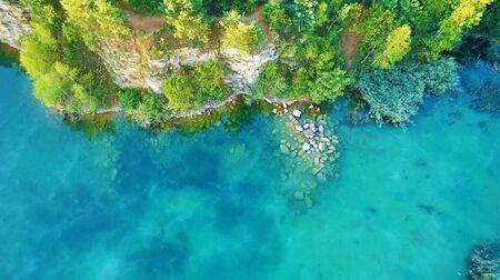 Aerial landscape from the drone - blue water