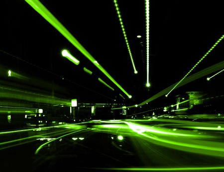 zooming: Zooming Street Lights Stock Photo