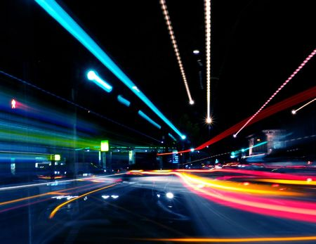 city lights: Abstract Street Blurs Stock Photo