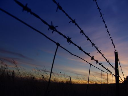 Barbed Fence Silhouette Stock Photo - 208581