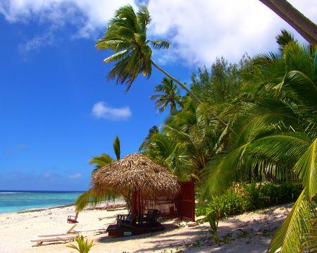 Shaded Chair on Tropical Beach