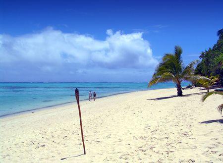 bask: Couple walking on beautiful beach