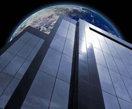 edificio corporativo: Edificio Corporativo delante de la Tierra  Foto de archivo