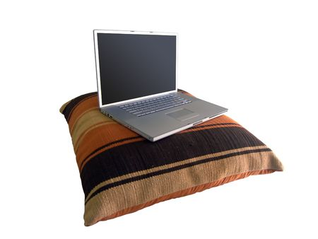 Laptop on Big Pillow photo