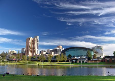 City of Adelaide - River Torrens Stock Photo