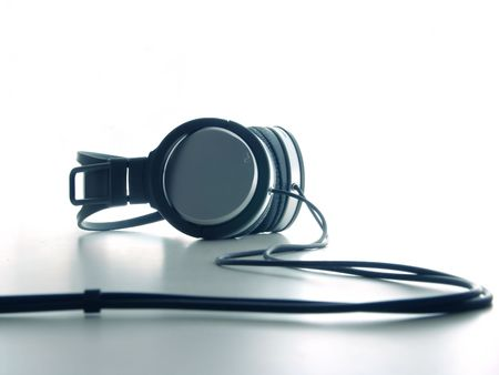 music production: Headphones on White Stock Photo
