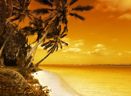 south pacific: Tropical Scenic Sunset