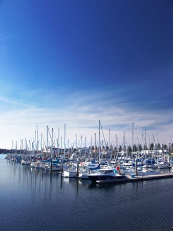 Boats moored at Marina on a sunny summers day