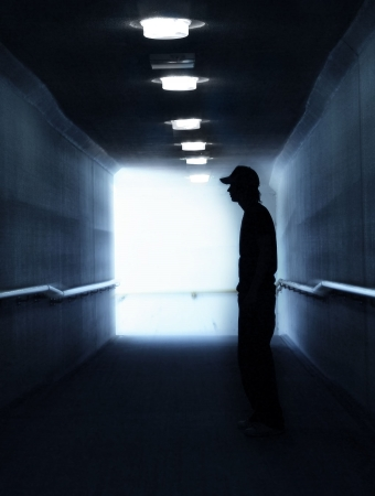 Silhouette of Young Man who needs help photo