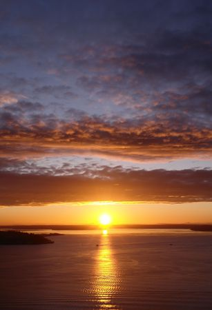 The sun sets over Puget Sound Stock Photo - 751300