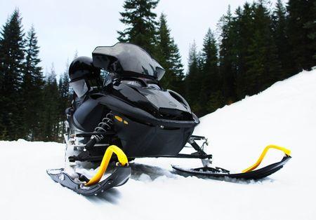 A black snowmobile