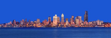Stunning Dusk Panoramic shot from Alki Beach Stock Photo - 752327