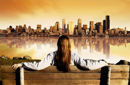 Girl looking at the City of Seattle Stock Photo - 772510