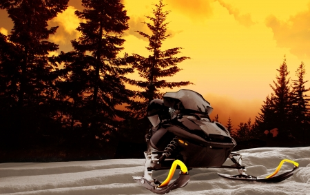 Snowmobile with pine trees at sunset photo