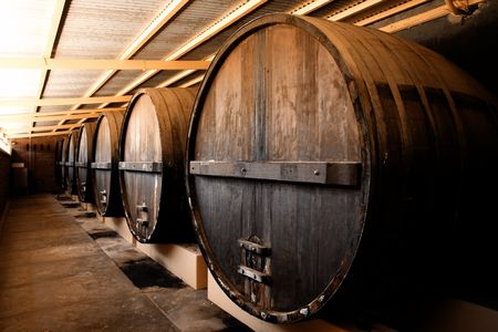 ferment: Large Barrels at a Winery in South Australia Stock Photo