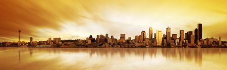 Panoramic Image of the city of Seattle at sunset photo