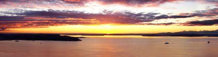 puget: Beautiful Sunset over Puget Sound Stock Photo