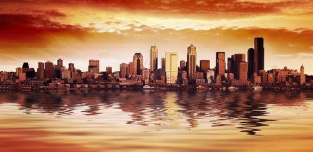 Stunning Seattle City Sunset Stock Photo - 802601