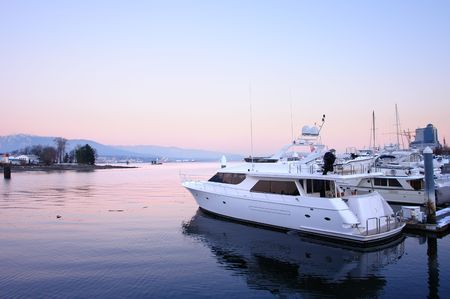moored: Vancouver Sunset over a marina Stock Photo