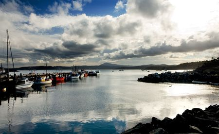 Peaceful Harbour with Fishing Boats photo