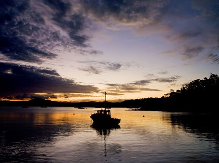 Silhouette of Fishing Boat Stock Photo - 2677018