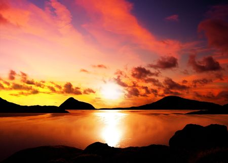 wilsons promontory: Silhouettes of islands during a beautiful sunset