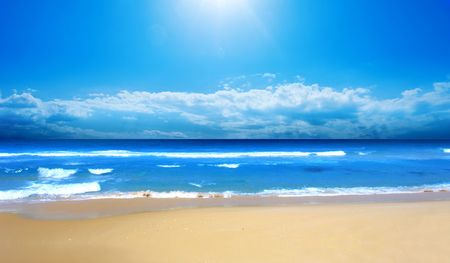 unspoilt: Beautiful Beach in the summertime Stock Photo