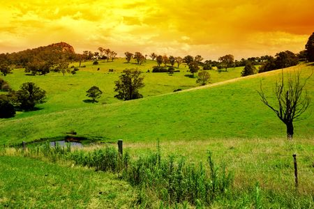 Farmland at Sunset Stock Photo - 2682197